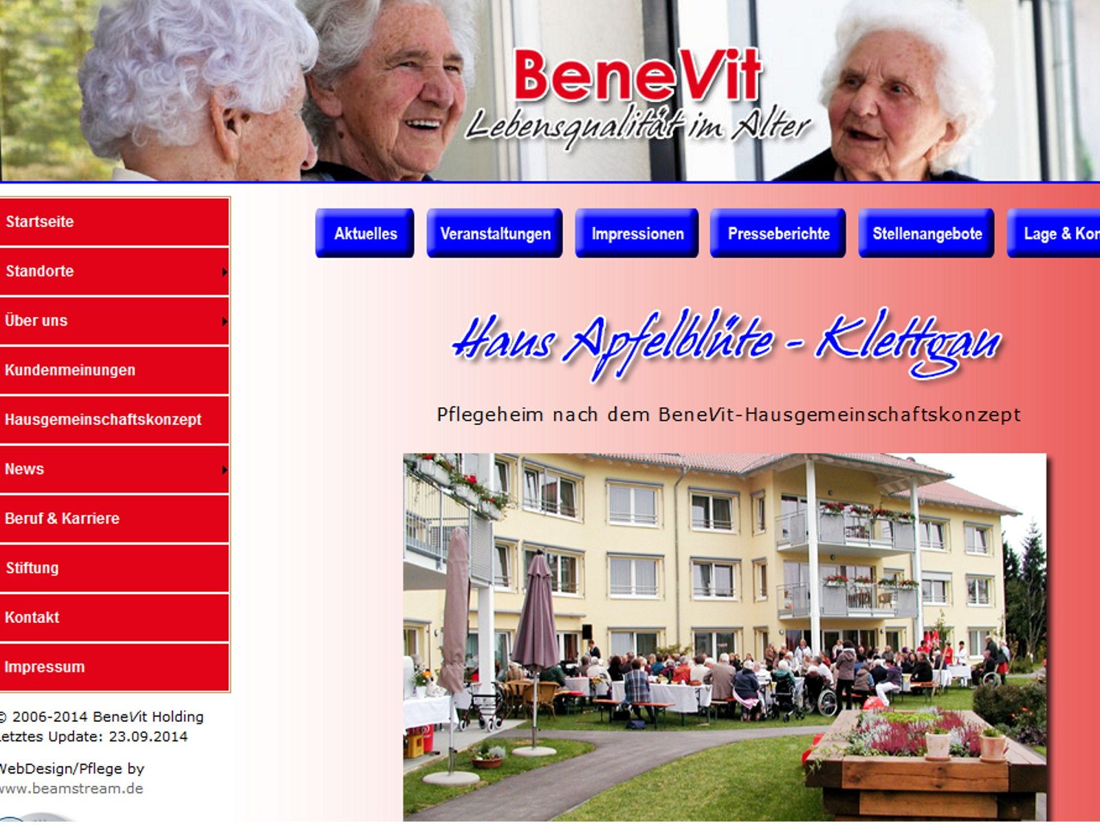 Screenshot Homepage BeneVit Pflege