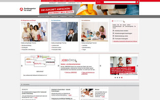Screenshot Homepage Arbeitsagentur